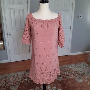 Madewell off the shoulder pink summer dress